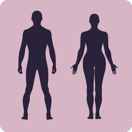 nude women: Full length front human silhouette vector illustration, isolated on white Illustration