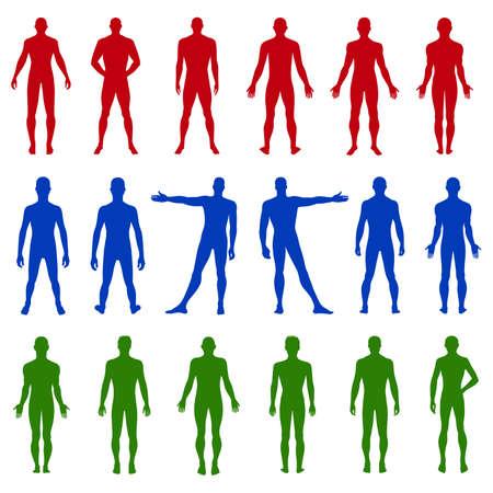 naked male body: Full length front, back silhouette of man vector illustration, isolated on white