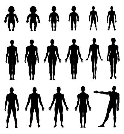 naked young people: Full length front, back human silhouette vector illustration, isolated on white Illustration