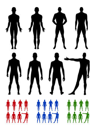 naked silhouette: Full length front, back silhouette of man vector illustration, isolated on white