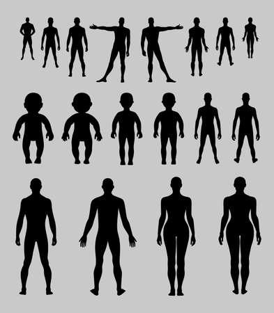 femme noire nue: Pleine longueur avant, arri�re humaine illustration silhouette vecteur, isol� sur fond gris