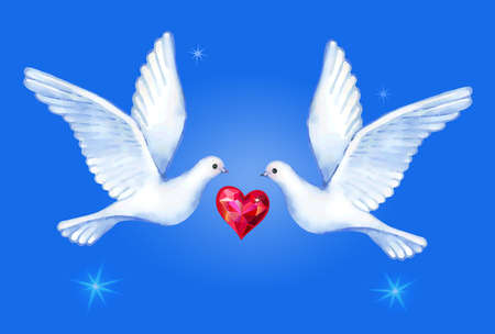 excite: Watercolor soaring doves pair with passionate heart, vector illustration isolated on background