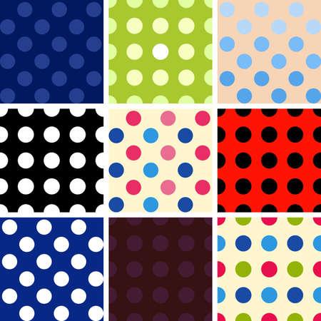 restless: Polka dot multicolored background isolated set Illustration