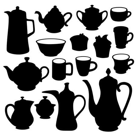 exotica: Coffee, tea, milk crockery vector illustration featured front isolated on background