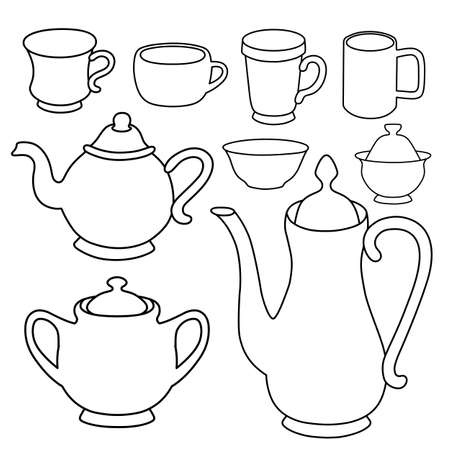 spout: Coffee, tea, milk crockery vector illustration featured front isolated on background