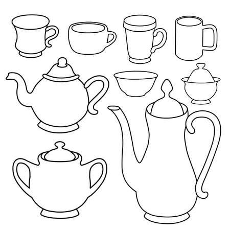 ergonomie: Kaffee, Tee, Milch Geschirr Vektor-Illustration vorge vor isoliert auf Hintergrund