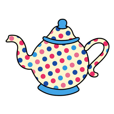 pot belly: Polka dot outlined tea pot crockery vector illustration isolated on background