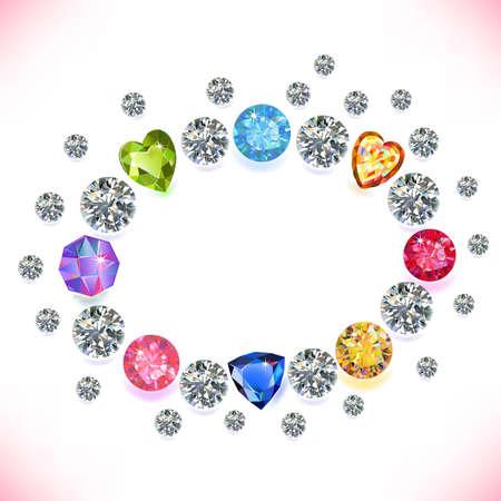 zircon: Colored gems oval frame isolated on white background, vector illustration Illustration