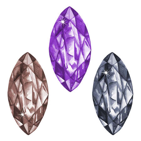 spinel: Watercolor marquis cut gems collection isolated on white background