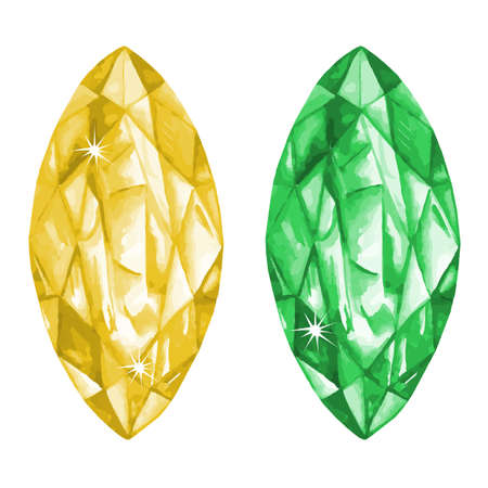 Watercolor marquis cut gems collection isolated on white background