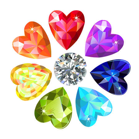 Seamless pattern of colored heart cut gems isolated on white background, vector illustration  イラスト・ベクター素材