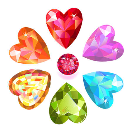 alluvial: Seamless pattern of colored heart cut gems isolated on white background, vector illustration Illustration