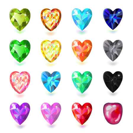 zircon: Set of colored heart cut gems isolated on white background, vector illustration