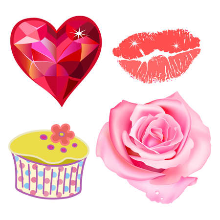 plump lips: Vector illustration of pink rose, heart, kiss lips, cupcake isolated on white background