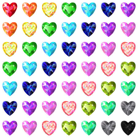 Seamless pattern of colored heart cut gems isolated on white background, vector illustration Vector