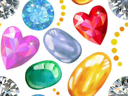 Seamless pattern of colored gems isolated on white background, vector illustration