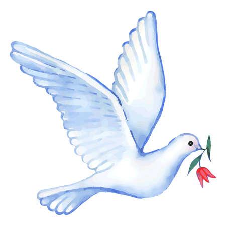 Aquarel stijgende duif met bloem, vector illustratie geïsoleerd op achtergrond