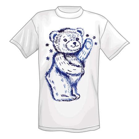 shrewd: T-shirt & standing bear. Vector illustration isolated on white background
