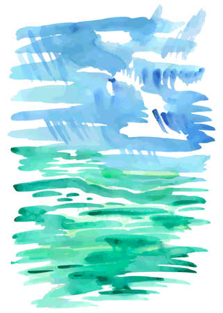 summer sky: Abstract watercolor portrait summer rain background isolated on white, vector illustration