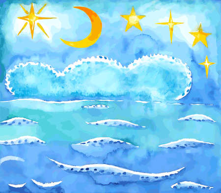 breeze: Summer night sky and sea background, vector watercolor illustration