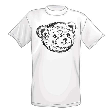 snout: T-shirt & bears smiling snout icon. Vector illustration isolated on white background