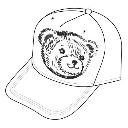snout: Bears smiling snout icon on the cap. Vector illustration isolated on white background