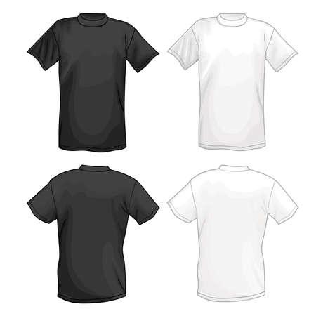 흰색과 검은 색 벡터 T 셔츠 디자인 템플릿 (앞 & 뒤로). 벡터 일러스트 레이 션 흰색 배경에 고립