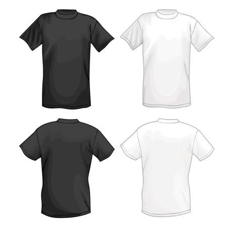 White and black vector T-shirt design template (front & back). Vector illustration isolated on white background Vettoriali