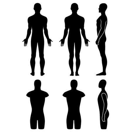 naked silhouette: Male mannequin outlined silhouette torso (front, back, side view). Vector illustration isolated on white background. You can use this image for fashion design and etc.