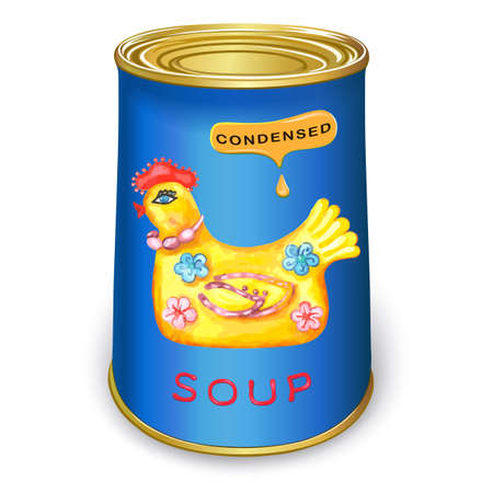 meat soup: Can of condensed Magic chicken soup. Vector illustration isolated on white background