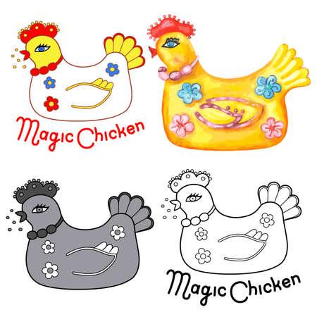 sitter: Magic chicken icon. Vector illustration isolated on white background Illustration