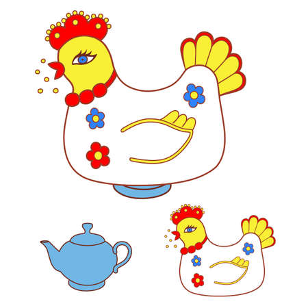 laying egg: Magic chicken warmer for teapot. Vector illustration isolated on white background
