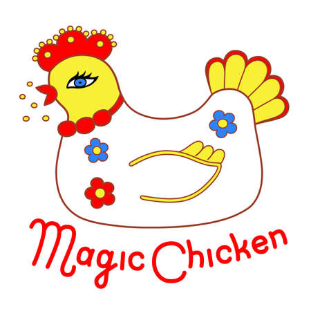 sitter: Magic chicken logo. Vector illustration isolated on white background
