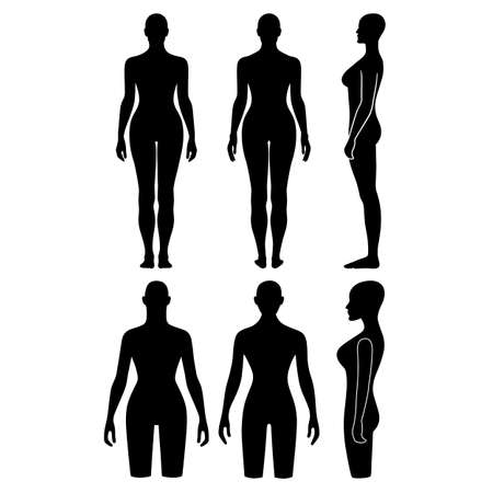 nude model: Woman mannequin outlined silhouette torso (front, back, side view). Vector illustration isolated on white background. You can use this image for fashion design and etc.