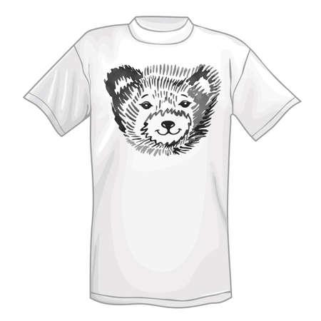 hocico: Camiseta y sonriente icono de hocico de oso. Ilustraci�n del vector aislado en el fondo blanco Vectores
