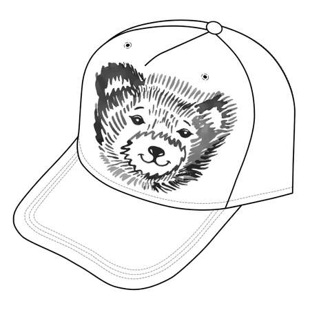 shrewd: Bears smiling snout icon on the cap. Vector illustration isolated on white background
