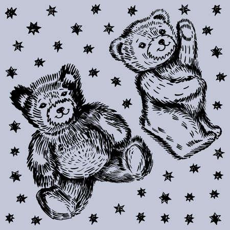 oso de peluche: Sentado y pareja de pie lleva patrón (acuarela mano de pintura). Ilustración vectorial aislado sobre fondo gris