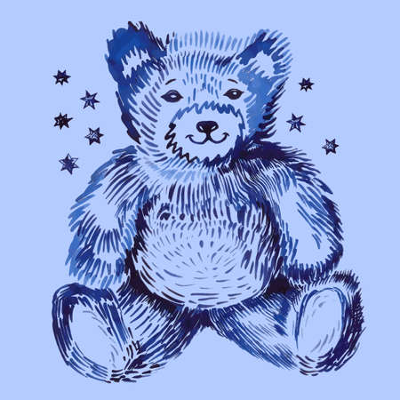 stocky: Sitting bear (handpaint watercolor). Vector illustration isolated on background