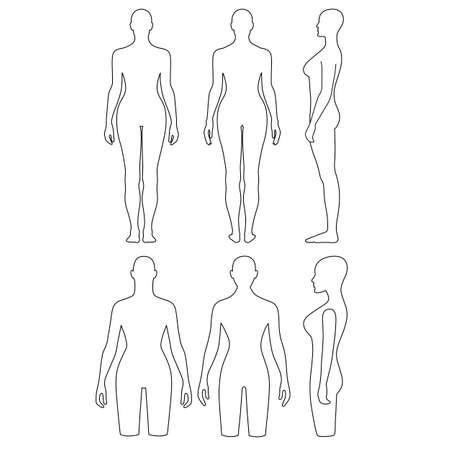 mujeres desnudas: Mujer maniquí torso esbozado (frontal, posterior, vista lateral). Ilustración vectorial aislados en fondo blanco. Usted puede utilizar esta imagen para el diseño de moda, etc Vectores
