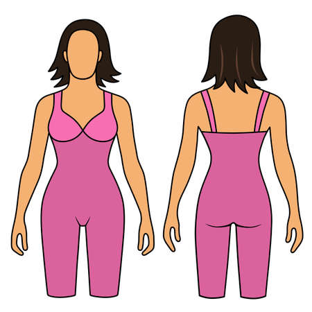 mujer desnuda de espalda: Mujer esbozó torso adelgazar la ropa interior (frontal, vista posterior). Ilustración vectorial aislados en fondo blanco. Usted puede utilizar esta imagen para el diseño de moda, etc