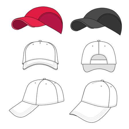 kapelusze: Baseball, tenis ilustracji wektorowych czapka biorące przodu, z tyłu, z boku, z góry, na dole na białym. Możesz zmienić kolor lub dodać swoje logo łatwo. Ilustracja