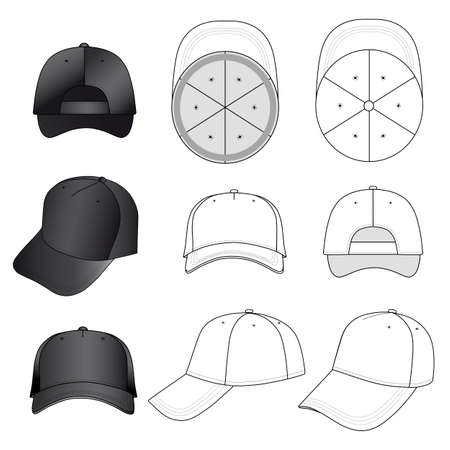 brim: Baseball, tennis cap vector illustration featured front, back, side, top, bottom isolated on white.  You can change the color or you can add your easily. Illustration
