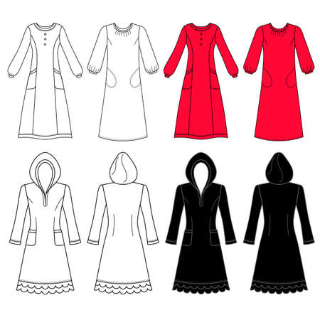 nightdress: House dress, nightdress front view, vector illustration isolated on white background Illustration