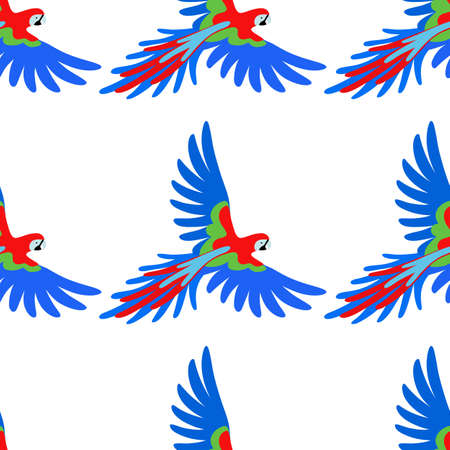 wing span: Macaw parrot seamless pattern, vector illustration isolated on white background