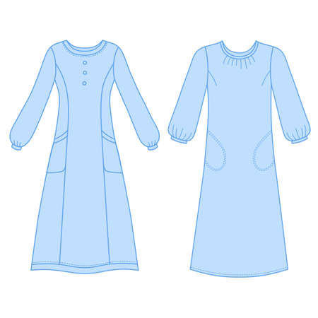 House dress, nightdress front view, vector illustration isolated on white background Illustration