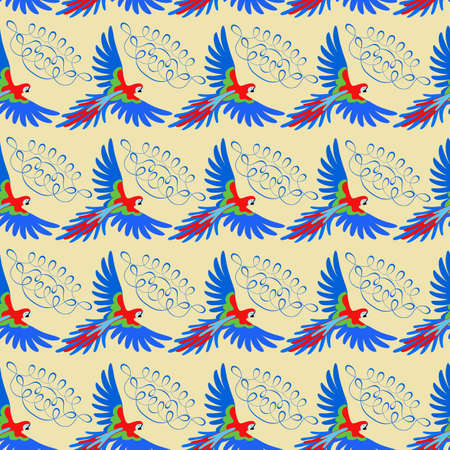 macaw: Macaw parrot seamless pattern, vector illustration isolated on beige background