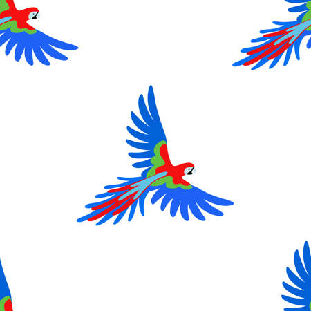 guacamaya caricatura: Macaw loro sin patrón, ilustración vectorial aislados en fondo blanco