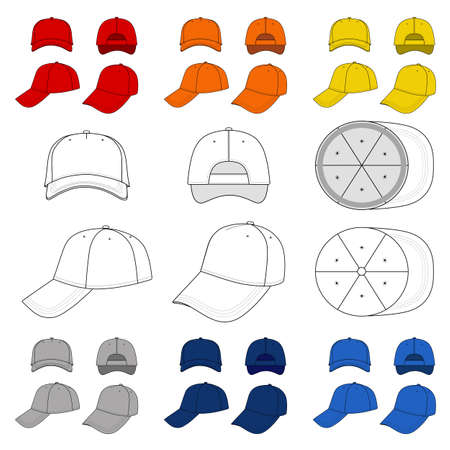 brim: Many-coloured baseball, tennis cap vector illustration featured front, back, side, top, bottom isolated on white.  You can change the color or you can add your logo easily.