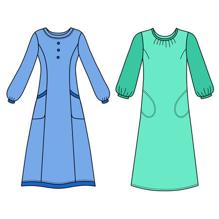 House dress, nightdress front view, vector illustration isolated on white background Ilustração