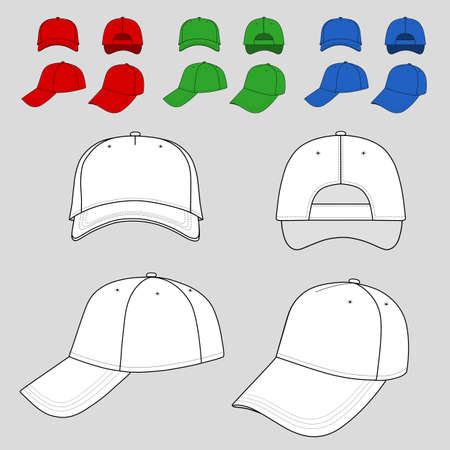 Baseball, tennis cap colored vector illustration featured front, back, side, top, bottom isolated on white. 